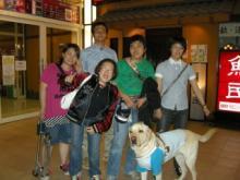 卒業生の4人とイッシュ,福永先生