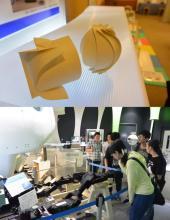 折り紙のケースと常設展示の前の学生たち